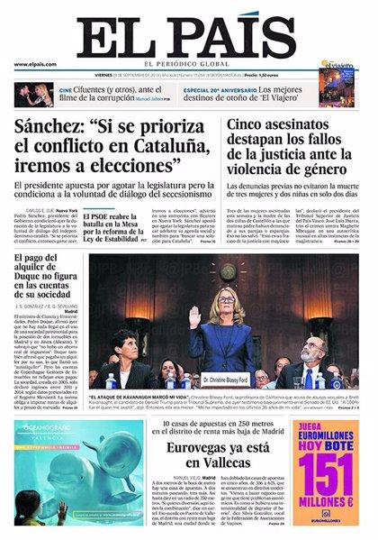 Las portadas de los periódicos del viernes 28 de septiembre del 2018