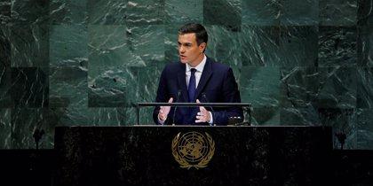 """Sánchez dice en la ONU que no es tiempo de """"mensajes nacionalistas o excluyentes"""", sino de """"escuchar al otro"""""""