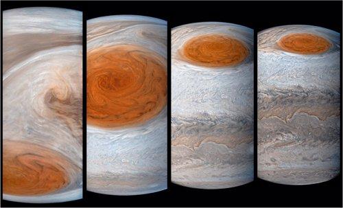 Imágenes de la Gran Mancha Roja tomadas por la misión Juno