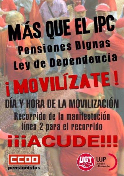 UGT y CCOO se movilizan el lunes en las capitales andaluzas en defensa de los derechos de los pensionistas