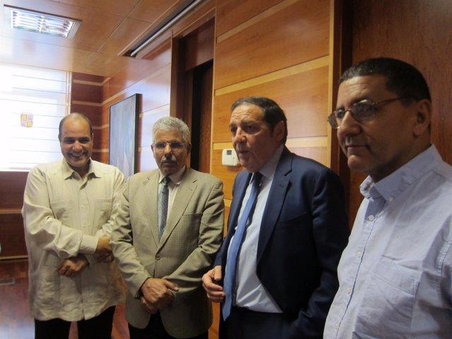 Sáez Aguado con una delegación saharaui.