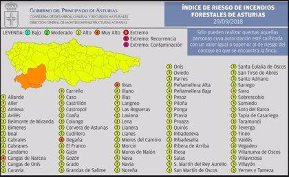 Tres concejos asturianos en riesgo muy alto de incendio y el resto del territorio en riesgo alto este sábado