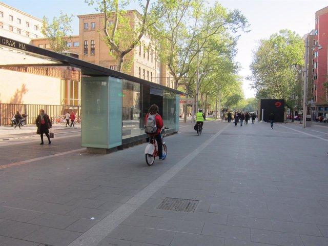 Ciclista junto a marquesina de tranvía