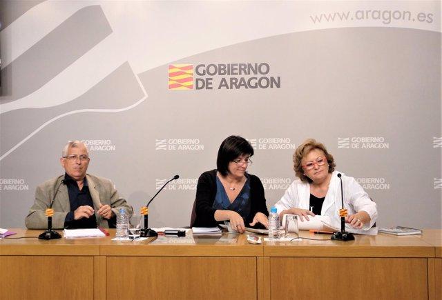 Gómez, Bajén y Navarro este viernes en el Pignatelli.
