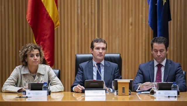 Pablo Casado, Dolors Montserrat, Teodoro García Egea