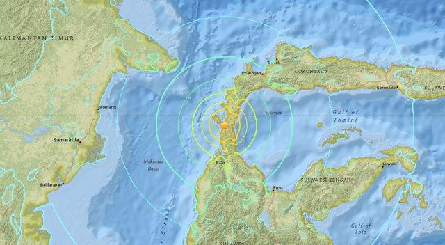 Mapa del terremoto en la isla de Célebes