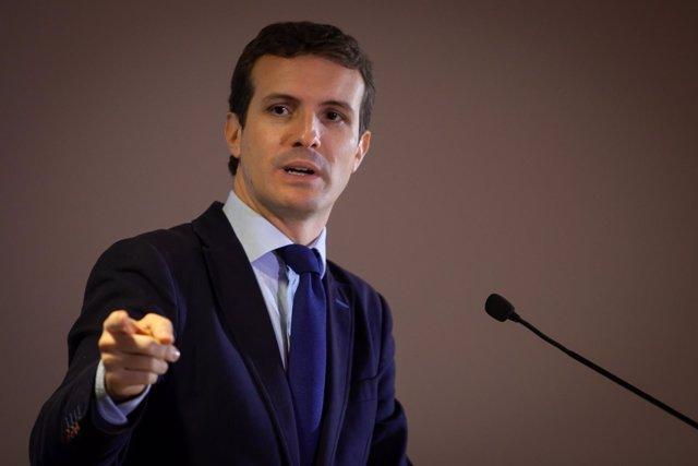 Pablo Casado, presidente del PP en un acto en Jerez