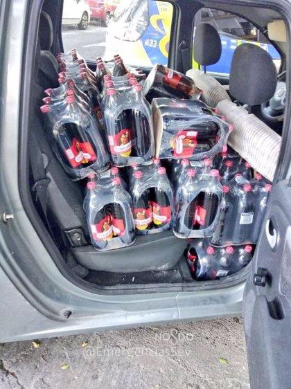 Inmovilizada una furgoneta con 442 litros de cerveza por exceso de carga en Sevilla capital