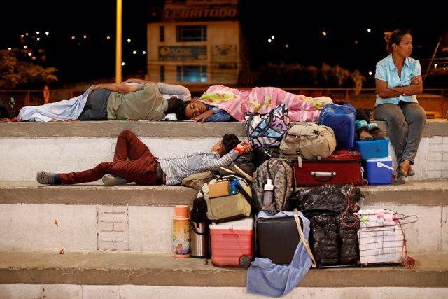 Migrantes venezolanos sin hogar en Cúcuta (Colombia) el 24 de enero de 2018
