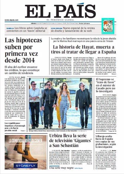 Las portadas de los periódicos del sábado 29 de septiembre del 2018