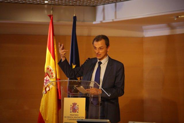 Rueda de prensa del ministro de Ciencia, Innovación y Universidades, Pedro Duque