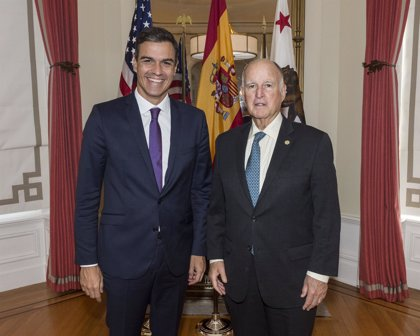Sánchez expone ante el gobernador de California los objetivos de España en materia medioambiental