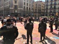 Manifestació d'independentistes contra la de Jusapol a Barcelona