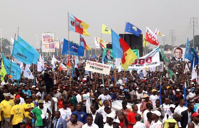 Partidarios de los líderes opositores se concentran en Kinshasa