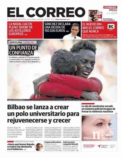 Las portadas de los periódicos del domingo 30 de septiembre del 2018
