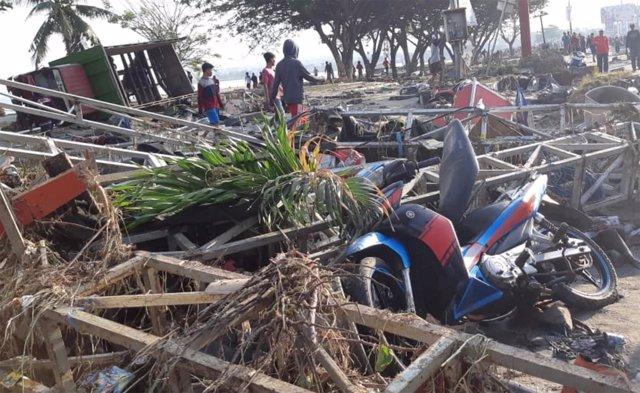 Efectos del tsunami en la localidad indonesia de Palu