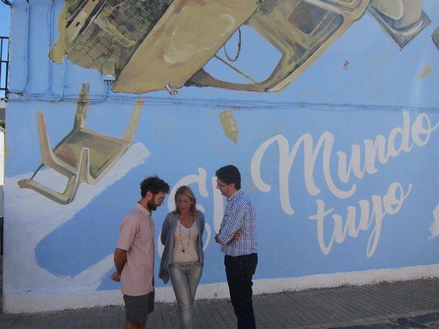 Uno de los murales de arte urbano del barrio de Las 300