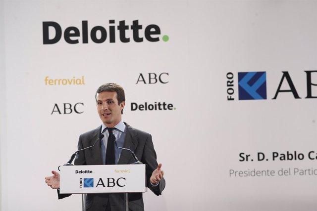 El presidente del PP, Pablo Casado, participa en el Foro ABC-Deloitte en Madrid