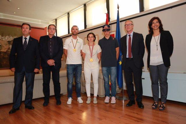 Guirao, Rieda y Soriano junto a Valverde, Carrasco y Prado