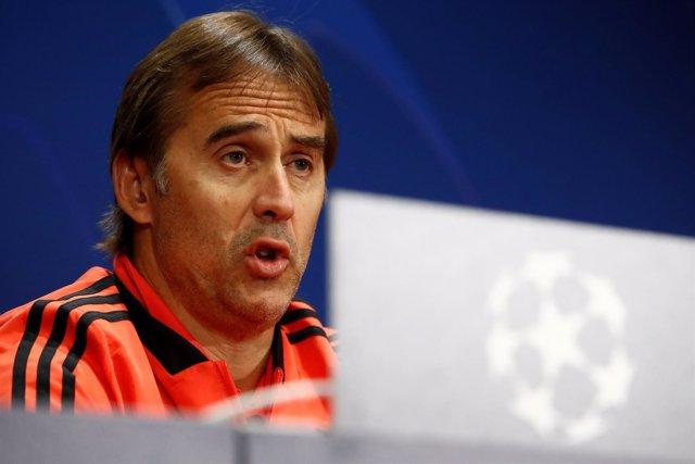 Julen Lopetegui, entrenador del Real Madrid, en rueda de prensa de 'Champions'