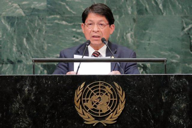 El ministro de Exteriores de Nicaragua, Denis Moncada, ante la ONU