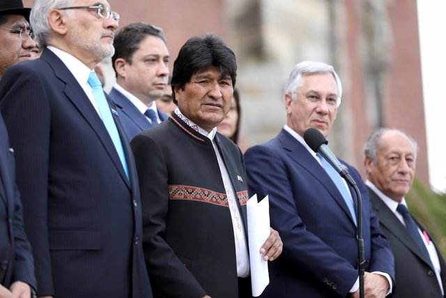 Bolivian President Evo Morales speaks in front of the International Court of Jus