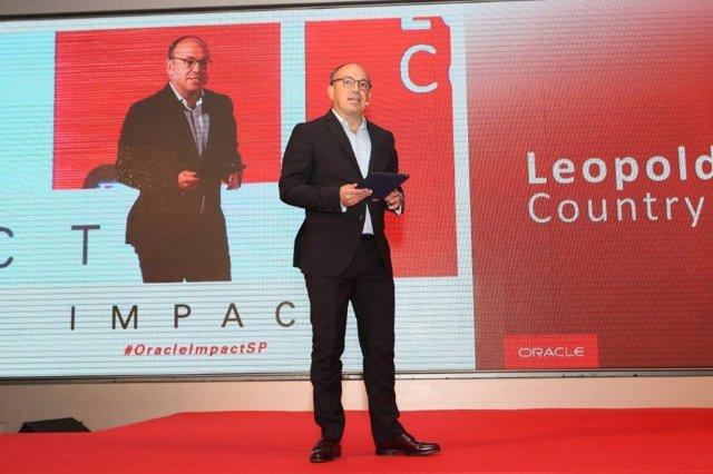 El responsable de Oracle Ibérica, Leopoldo Boado, en el evento Impact 2018