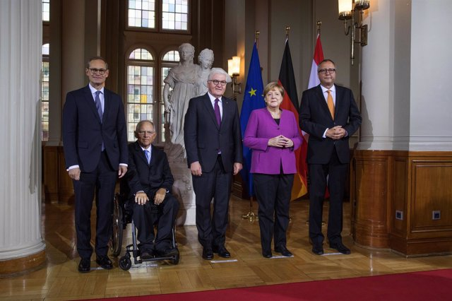 Angela Merkel y Frank-Walter Steinmeier en la celebración de la reunificación