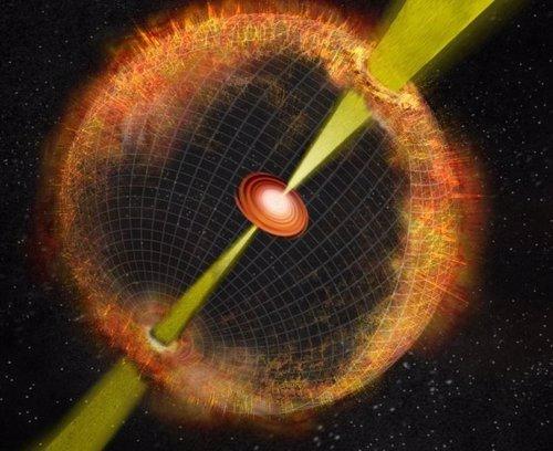 Concepto artístico de una explosión de rayos gamma
