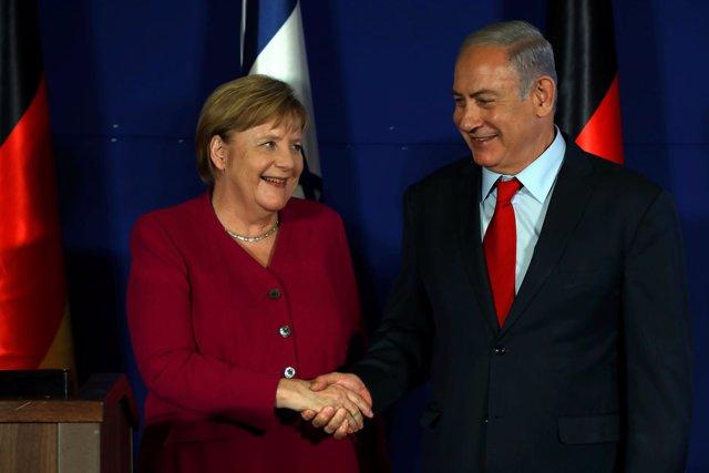 Merkel y Netanyahu durante el viaje de la canciller de Alemania a Israel