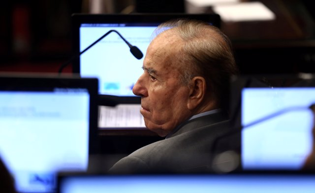 Senator and former Argentine President Carlos Menem attends a Senate session to