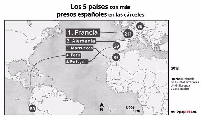 Los 5 países con más presos españoles en la cárcel