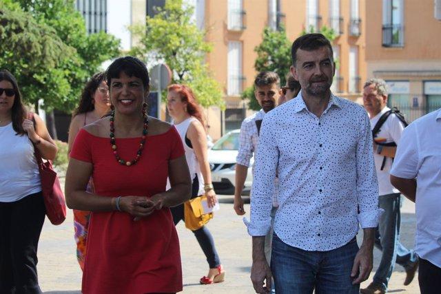 Teresa Rodríguez y Antonio Maíllo en Jerez