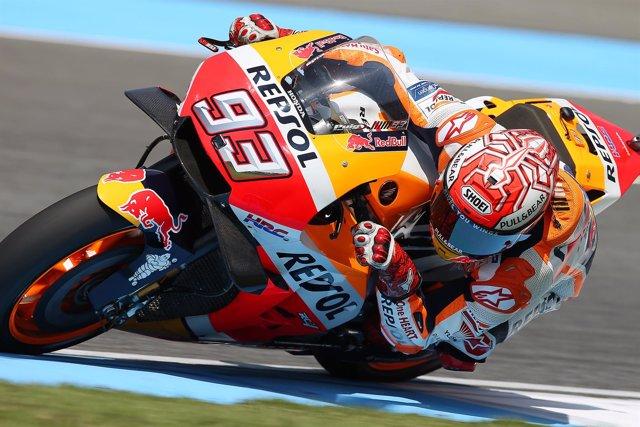 El piloto de MotoGP Marc Márquez (Repsol Honda) en el GP Tailandia 2018