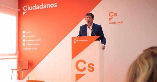Juan Marín (Cs Andalucía), en rueda de prensa