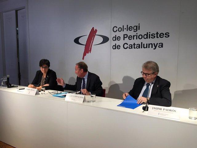Laura Pelay (Generalitat) , Roger Loppacher (CAC), y Jaume Padrós (Metges)