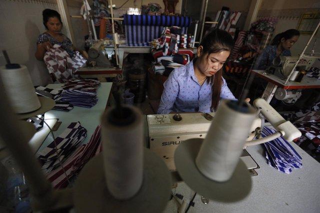 Fábrica textil en Camboya