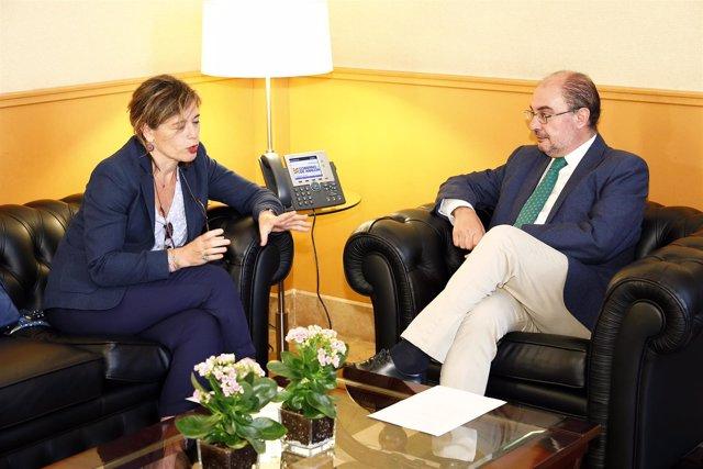 Reunión de la presidenta de la CHE con el presidente de Aragón