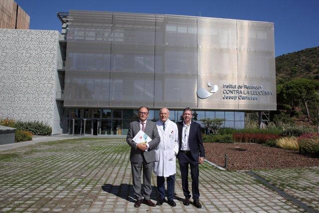 A.García, E.Feliu y F.Solé, en inauguración del Institut de Recerca J.Carreras