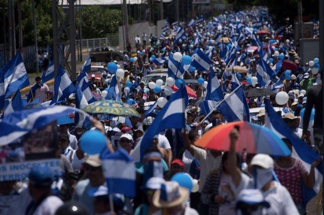 Manifestación contra el Gobierno nicaragüense el 16 de septiembre
