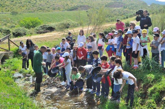 Alumnos en Monfragüe