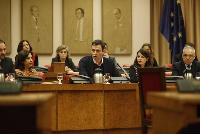 Margarita Robles, Pedro Sánchez y Adriana en la reunión del Grupo Socialista
