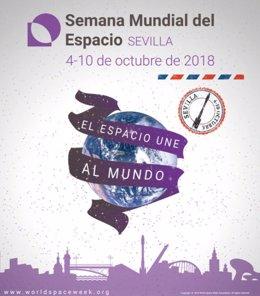 Cartel de la Semana Mundial del Espacio, en Sevilla