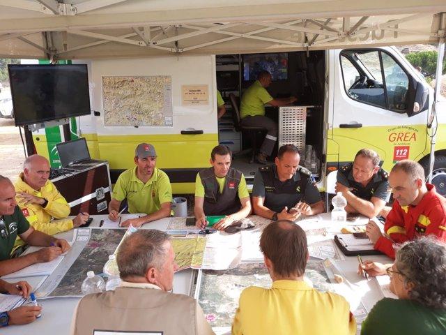 Reunión del Centro de Control del incendio de Nerva