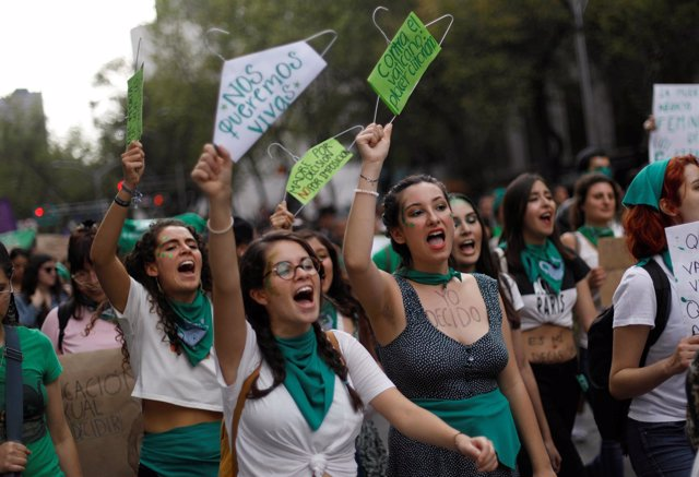 Abortion rights activists take part in a demonstration in support of legal and s