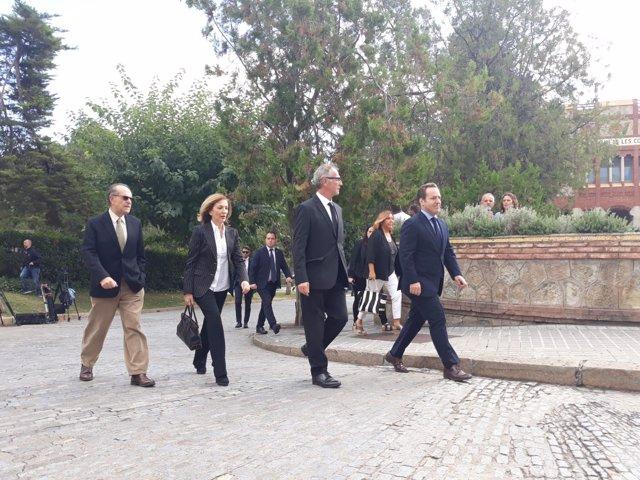 El exdirector del Liceu Joan Francesc Marco y el ministro José Guirao