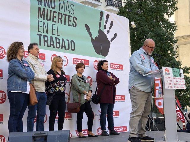 Luis Miguel López Reillo y Jaime Cedrún durante la concentración de este domingo