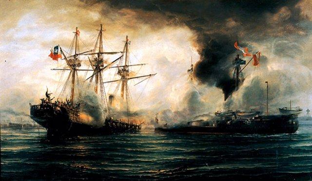 Ilustración pictórica de la Batalla de Angamos