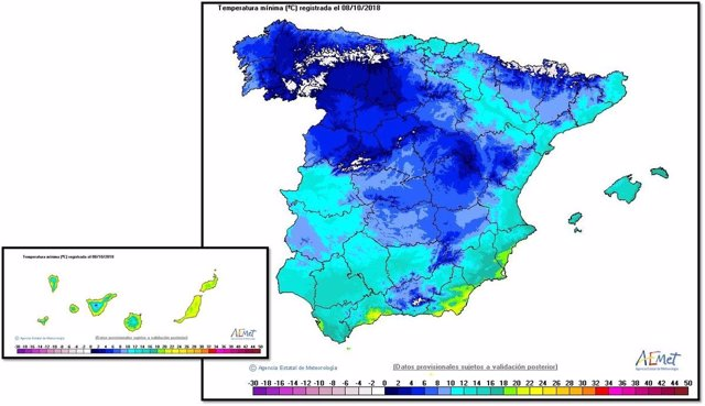Cuadro descriptivo de las temperaturas de este lunes día 8