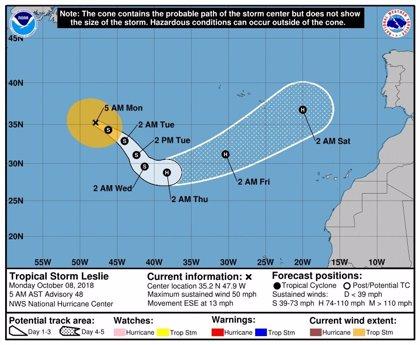 La tormenta tropical 'Leslie' no llegará a Canarias, según la Aemet